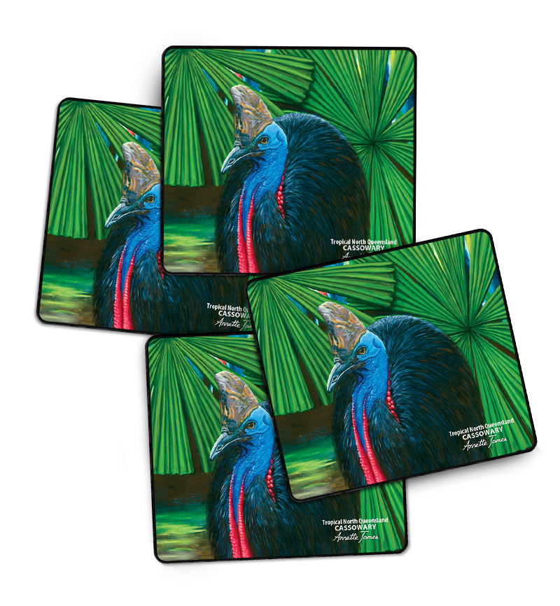 Cassowary Drink Coasters - 4 in a Gift Box
