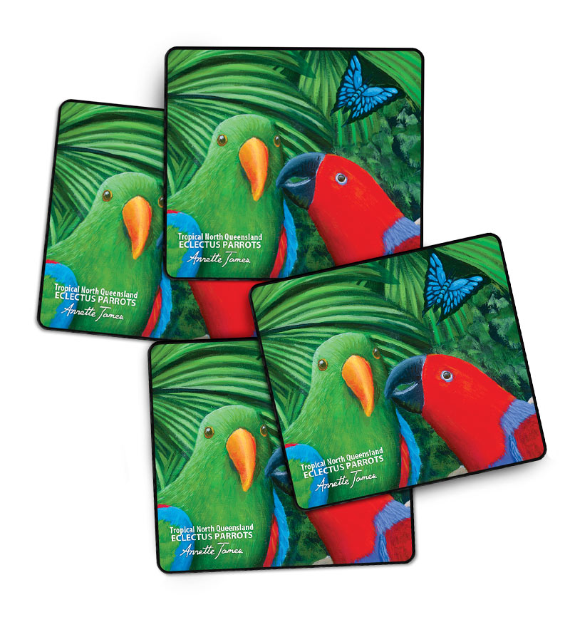 Eclectus Parrots -4 Drink Coasters in a Gift Box