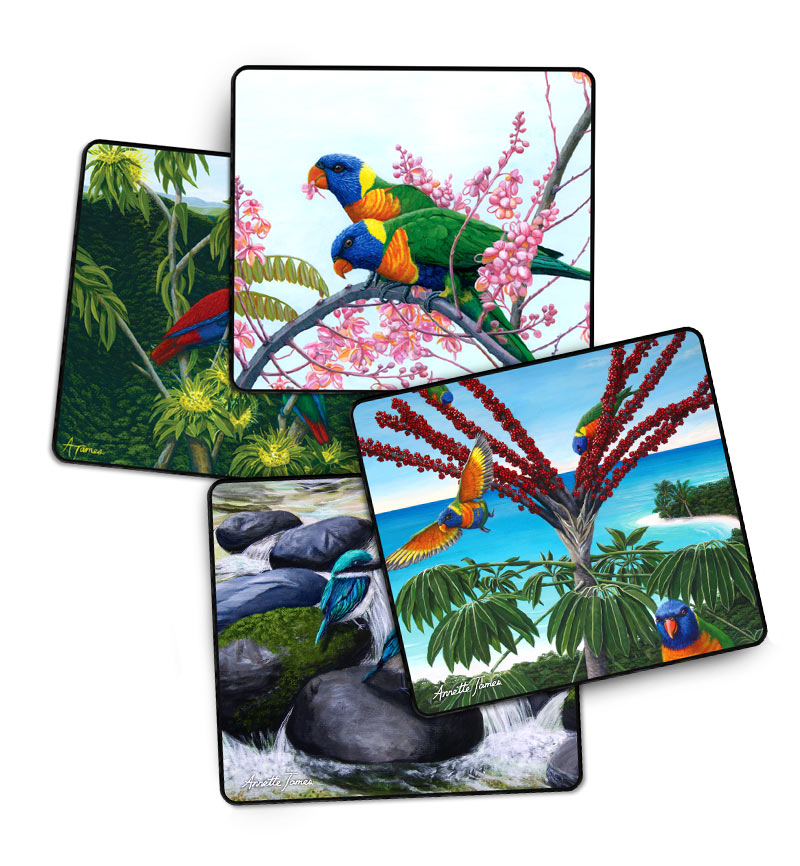 Bird Drink Coasters - 4 Assorted in a Gift Box
