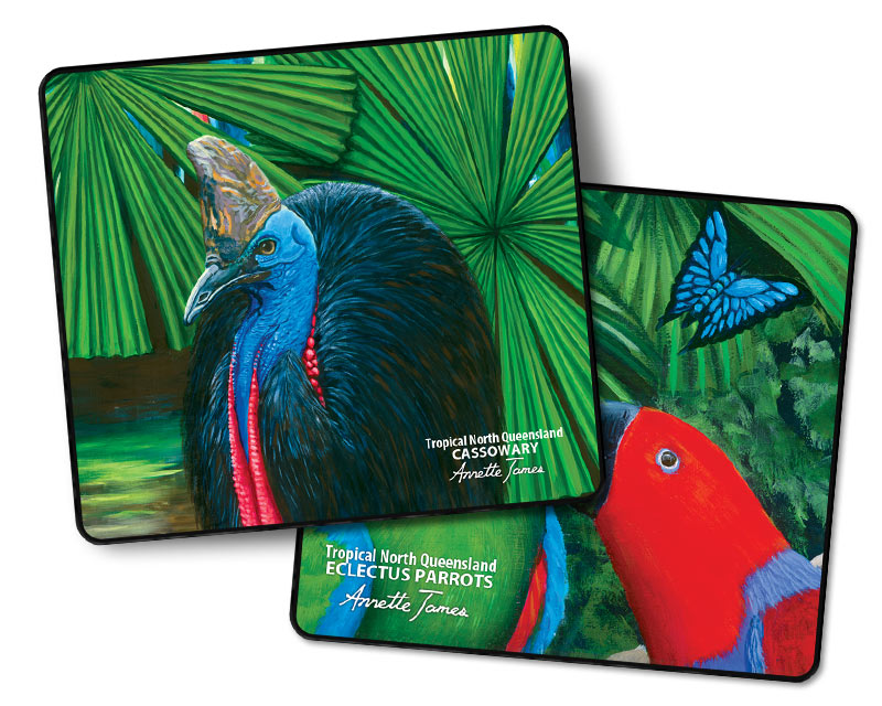 2 Pack Cassowary & Eclectus Drink Coasters