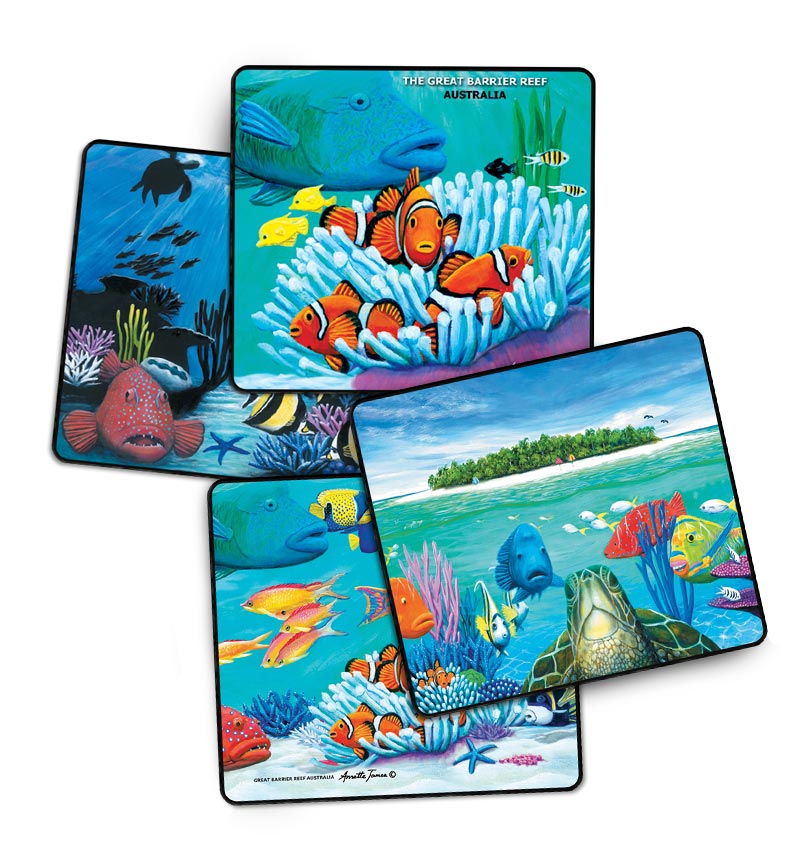 Turtle & Reef Fish Drink Coasters - 4 Assorted in a Gift Box